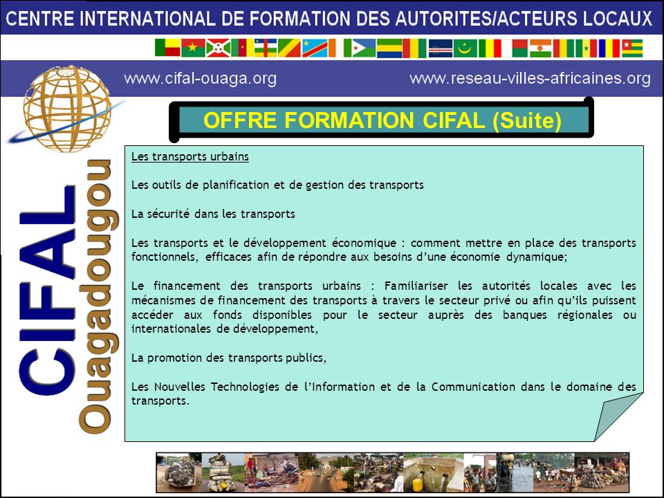 OFFRE FORMATION CIFAL (Suite)