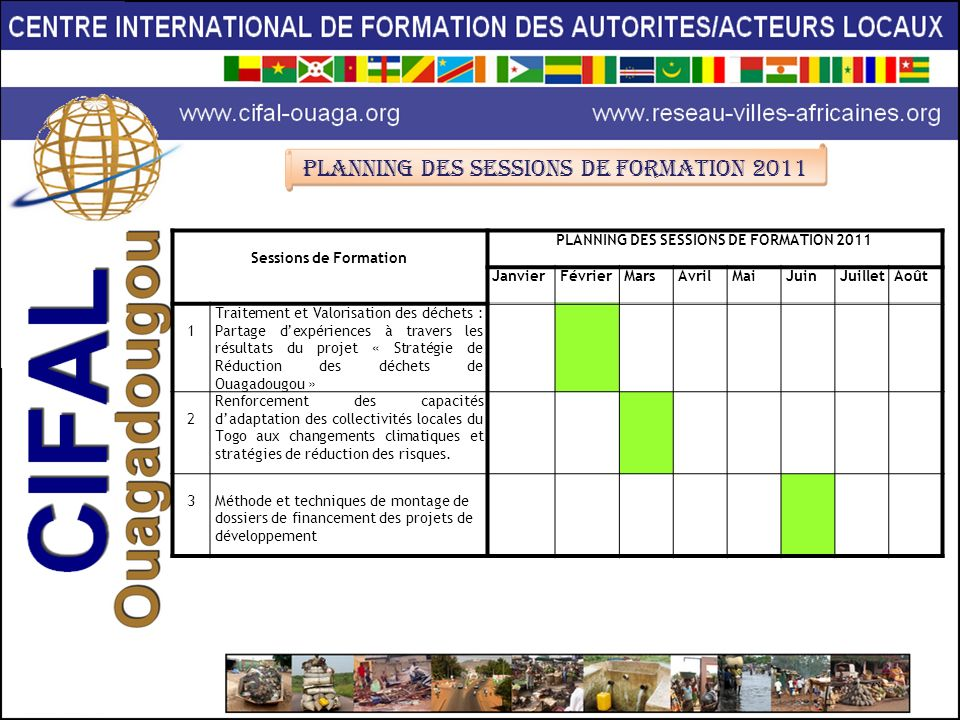 PLANNING DES SESSIONS DE FORMATION 2011