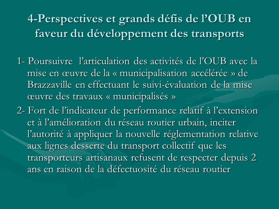 4-Perspectives et grands défis de l'OUB en faveur du développement des transports