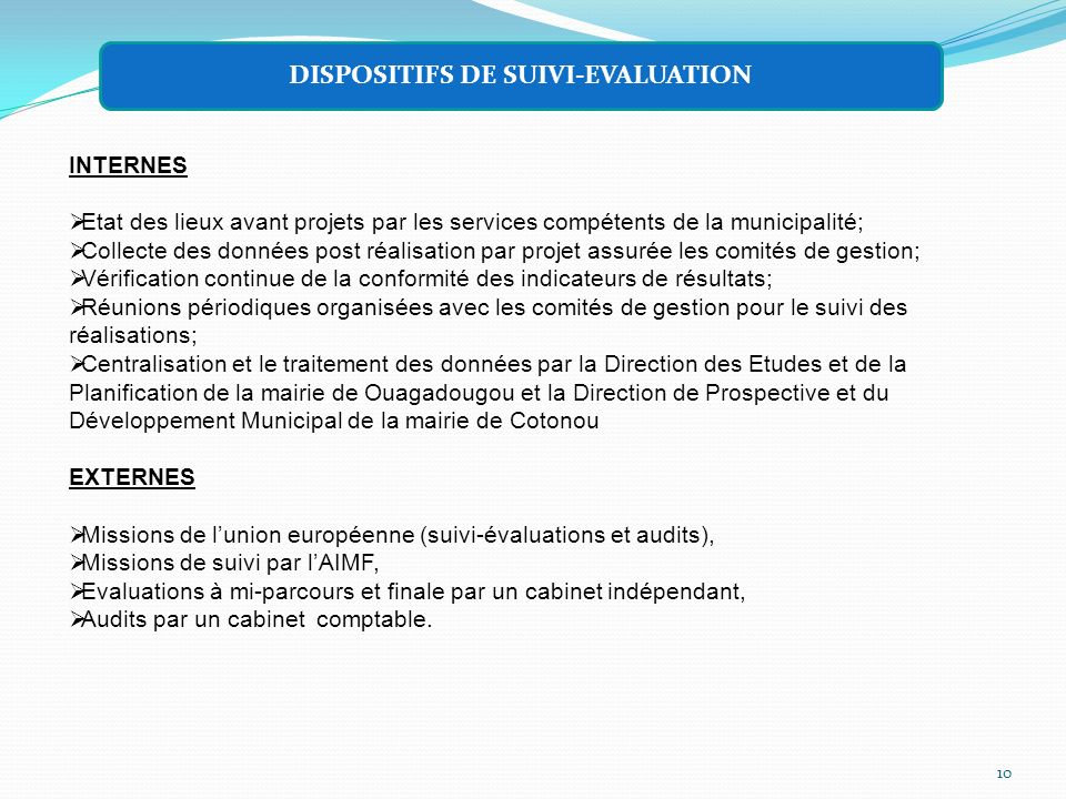 DISPOSITIFS DE SUIVI-EVALUATION