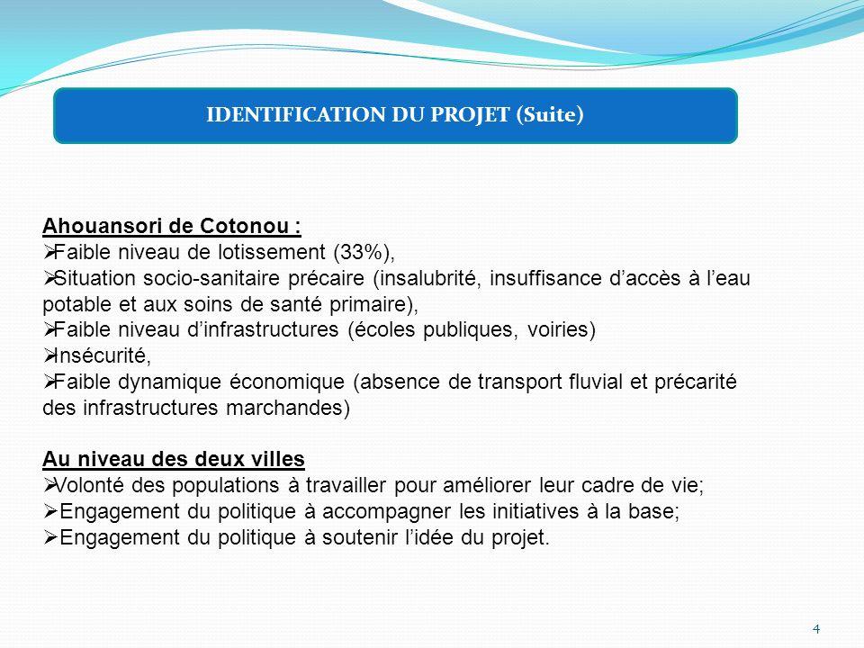 IDENTIFICATION DU PROJET (Suite)