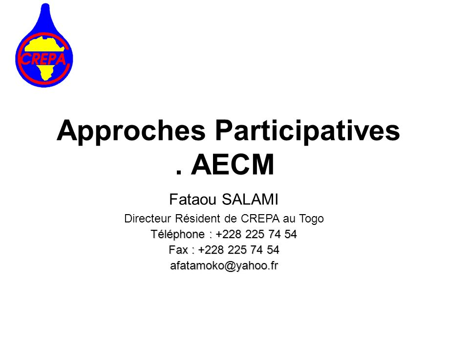 Approches Participatives . AECM