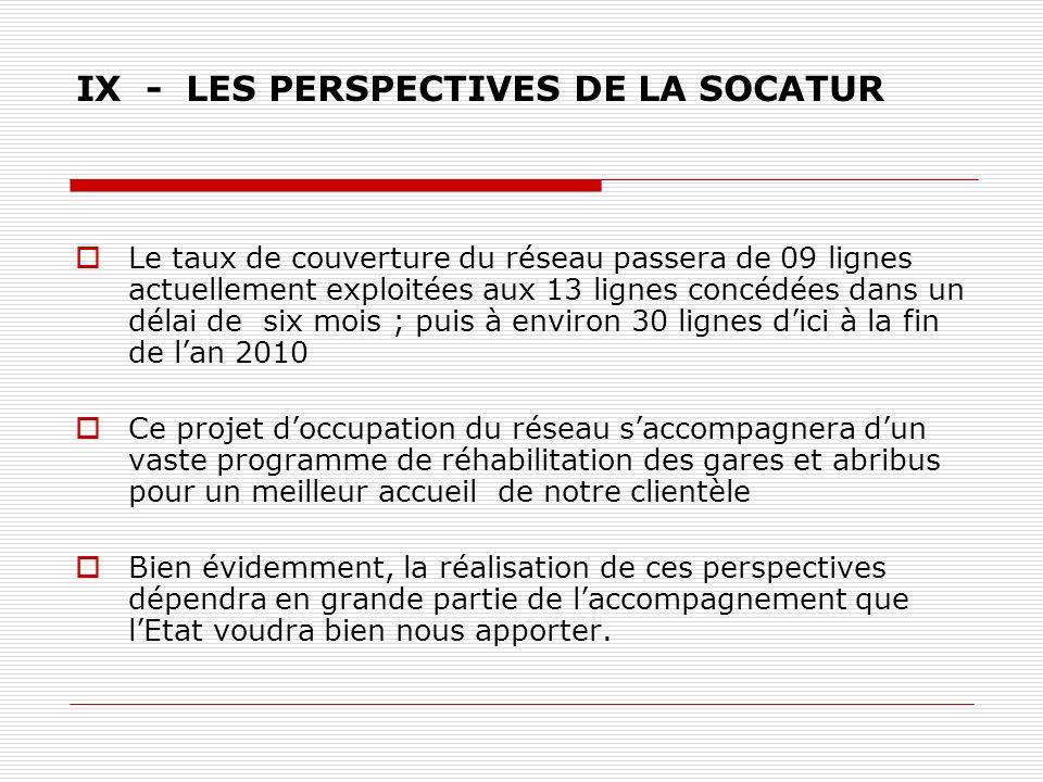 IX - LES PERSPECTIVES DE LA SOCATUR