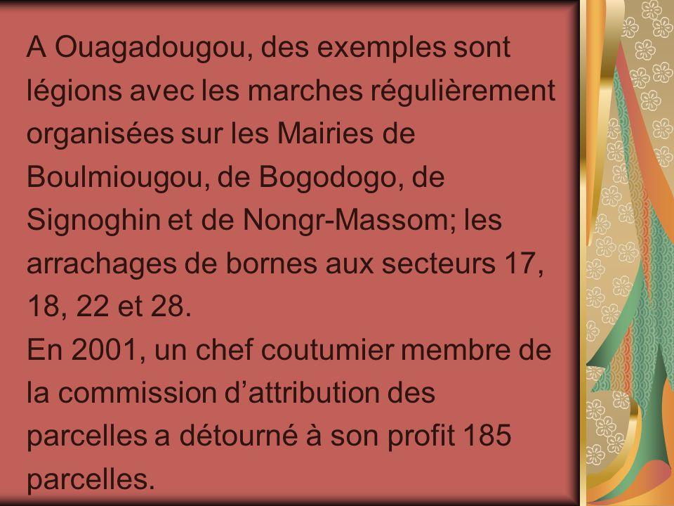 A Ouagadougou, des exemples sont