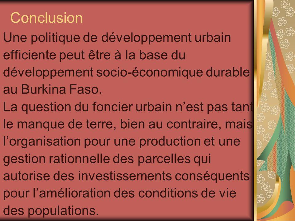 Conclusion Une politique de développement urbain