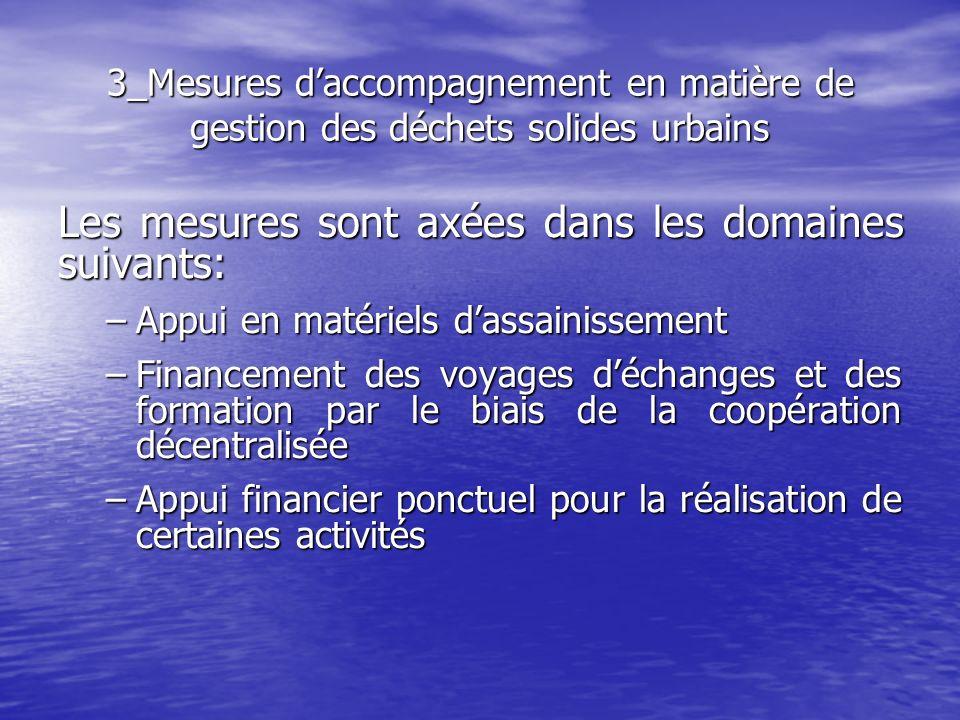 Les mesures sont axées dans les domaines suivants: