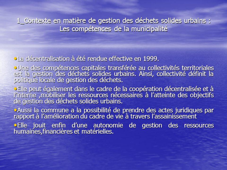 1_Contexte en matière de gestion des déchets solides urbains : Les compétences de la municipalité