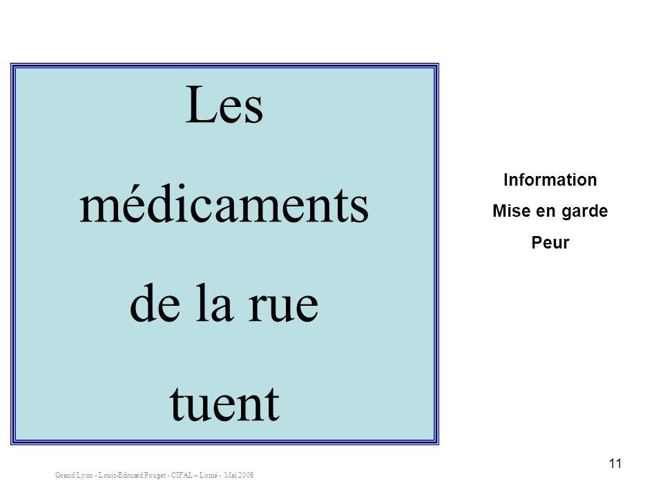 Les médicaments de la rue tuent Information Mise en garde Peur