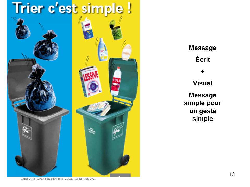 Message simple pour un geste simple