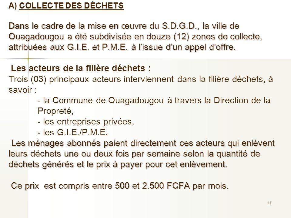 A) COLLECTE DES DÉCHETS Dans le cadre de la mise en œuvre du S.D.G.D., la ville de Ouagadougou a été subdivisée en douze (12) zones de collecte, attribuées aux G.I.E.