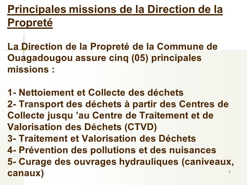 Principales missions de la Direction de la Propreté La Direction de la Propreté de la Commune de Ouagadougou assure cinq (05) principales missions : 1- Nettoiement et Collecte des déchets 2- Transport des déchets à partir des Centres de Collecte jusqu 'au Centre de Traitement et de Valorisation des Déchets (CTVD) 3- Traitement et Valorisation des Déchets 4- Prévention des pollutions et des nuisances 5- Curage des ouvrages hydrauliques (caniveaux, canaux)
