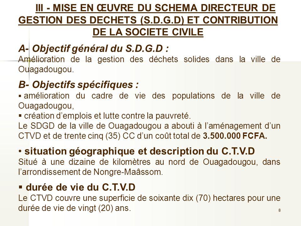 A- Objectif général du S.D.G.D :