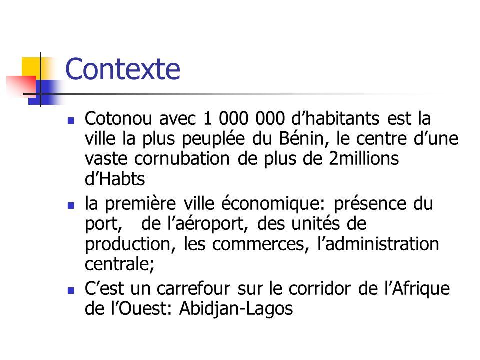 Contexte Cotonou avec 1 000 000 d'habitants est la ville la plus peuplée du Bénin, le centre d'une vaste cornubation de plus de 2millions d'Habts.