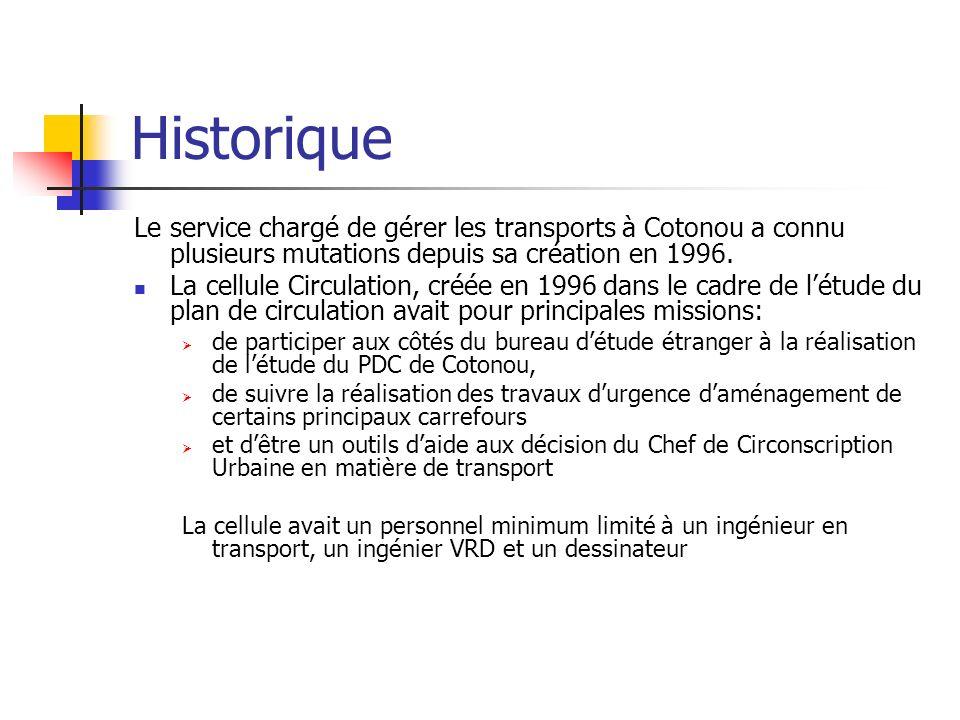 Historique Le service chargé de gérer les transports à Cotonou a connu plusieurs mutations depuis sa création en 1996.