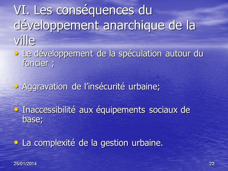 VI. Les conséquences du développement anarchique de la ville