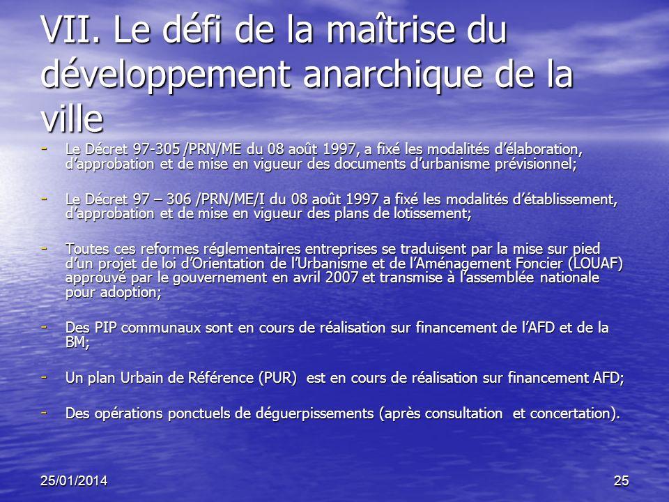 VII. Le défi de la maîtrise du développement anarchique de la ville