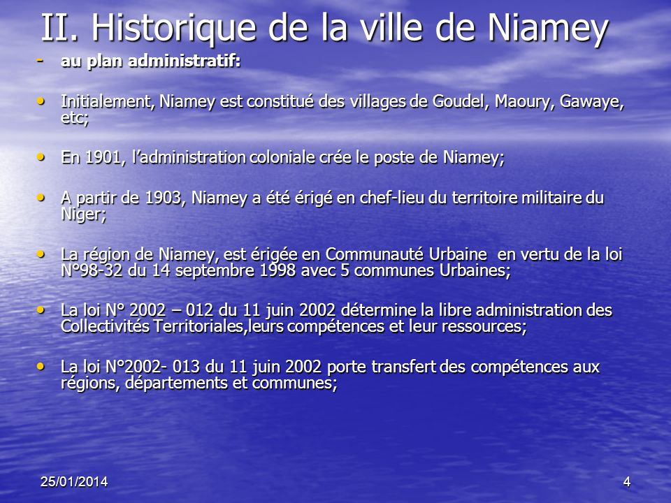 II. Historique de la ville de Niamey