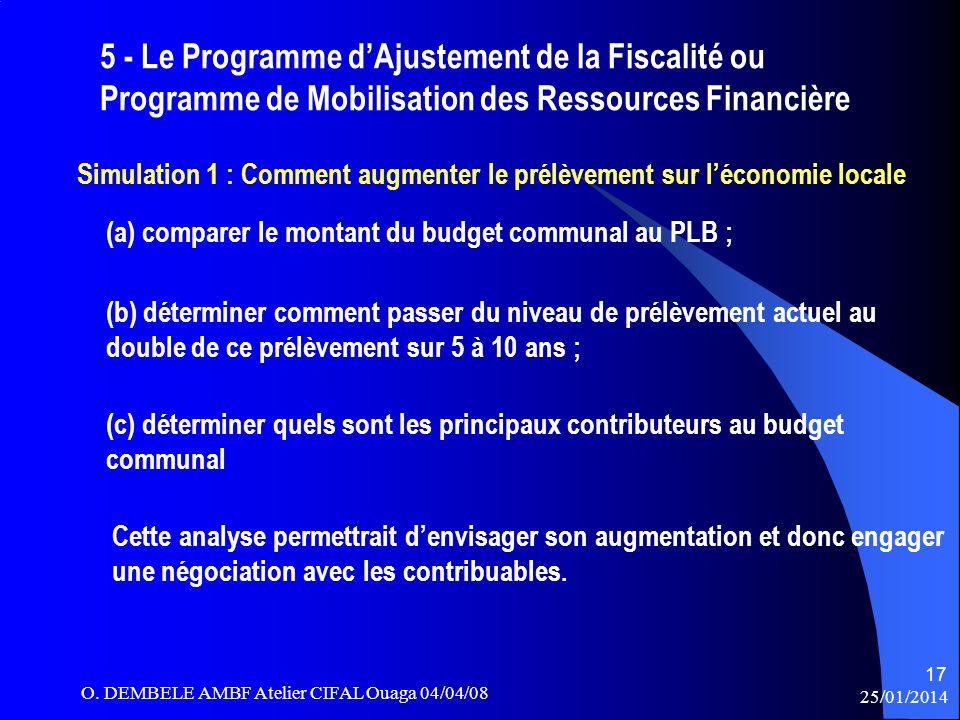 5 - Le Programme d'Ajustement de la Fiscalité ou Programme de Mobilisation des Ressources Financière