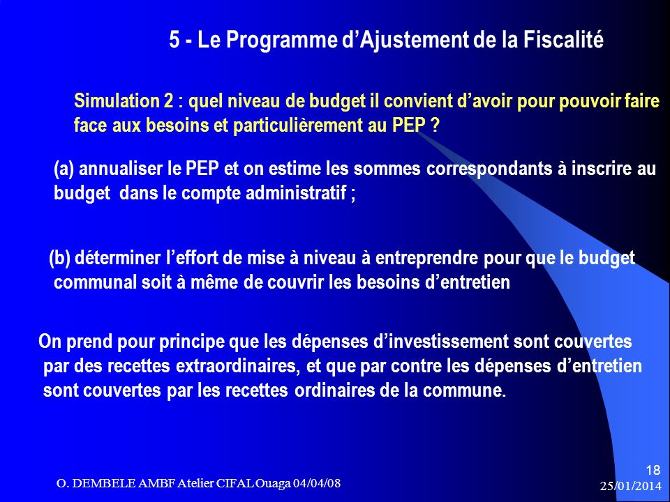 5 - Le Programme d'Ajustement de la Fiscalité