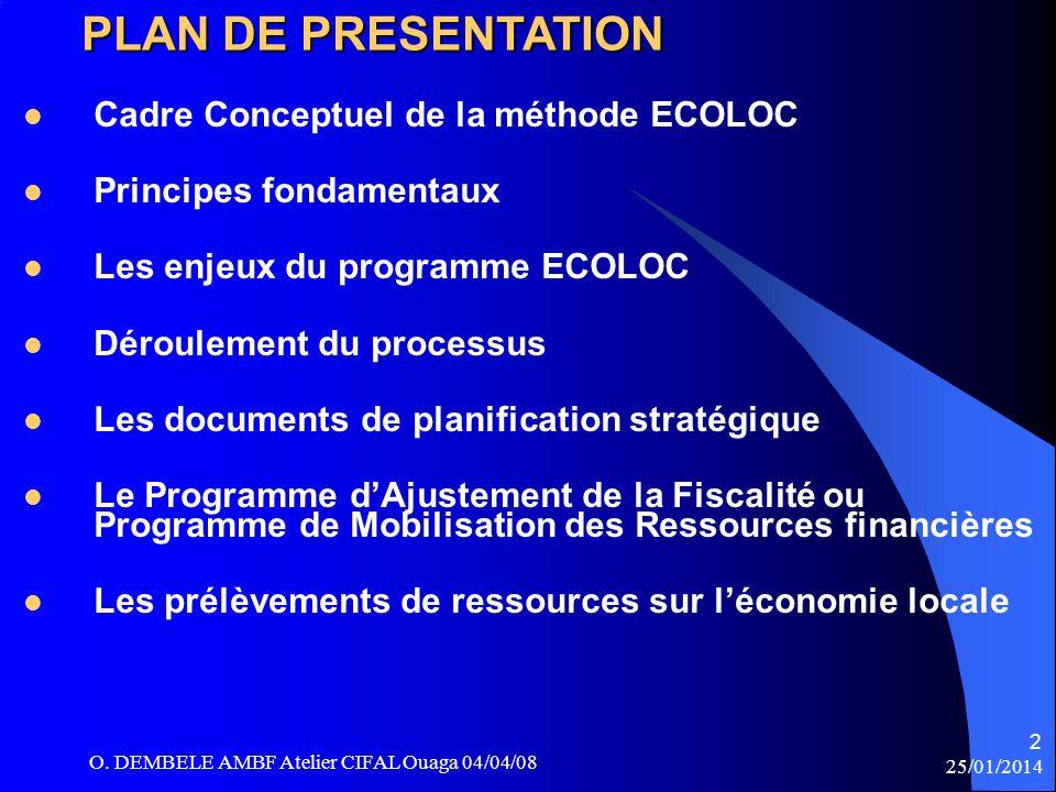 PLAN DE PRESENTATION Cadre Conceptuel de la méthode ECOLOC