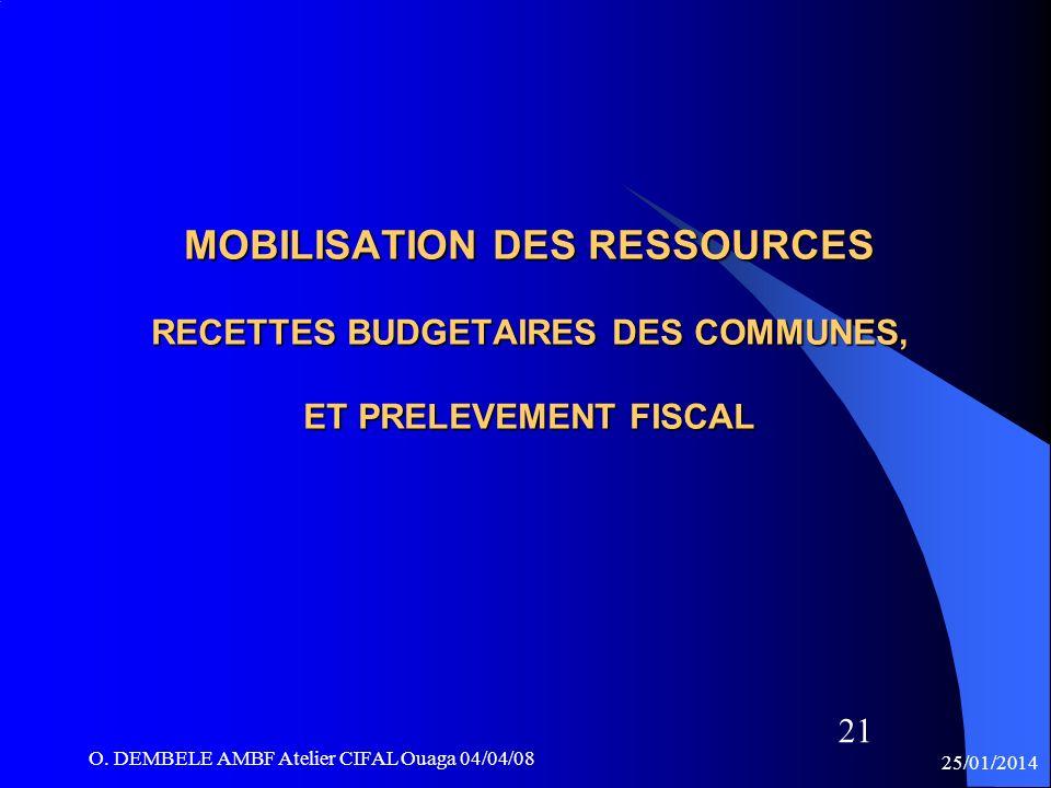 MOBILISATION DES RESSOURCES RECETTES BUDGETAIRES DES COMMUNES, ET PRELEVEMENT FISCAL