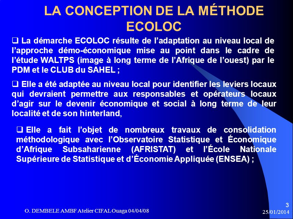 LA CONCEPTION DE LA MÉTHODE ECOLOC