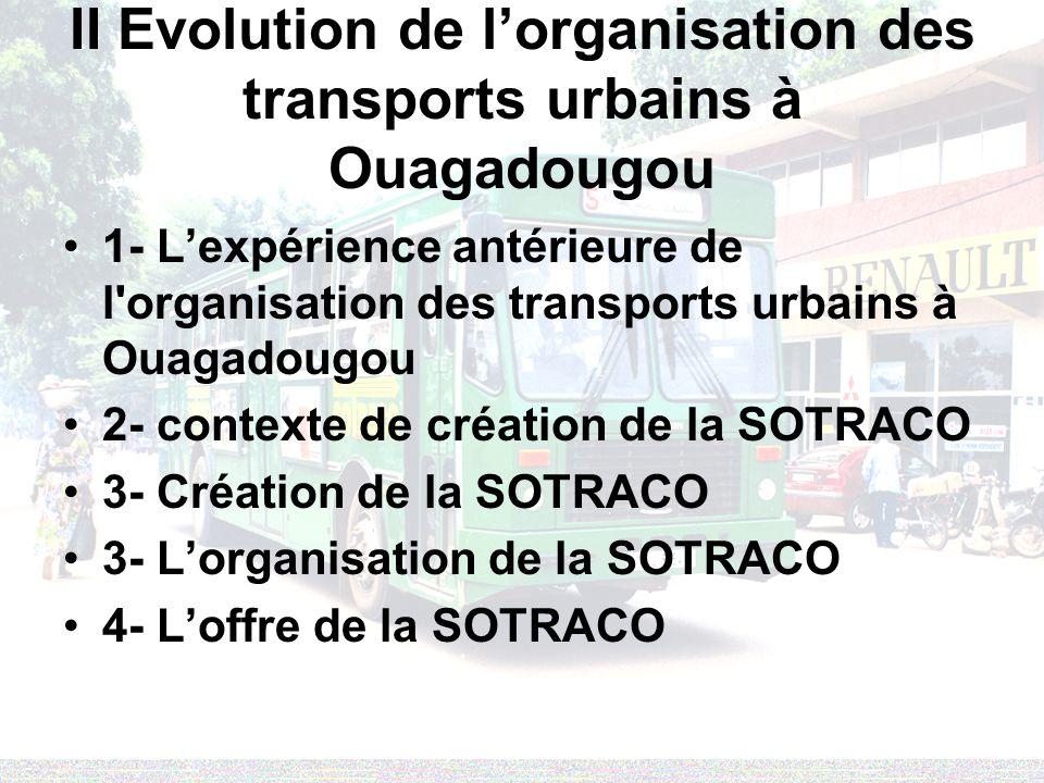 II Evolution de l'organisation des transports urbains à Ouagadougou