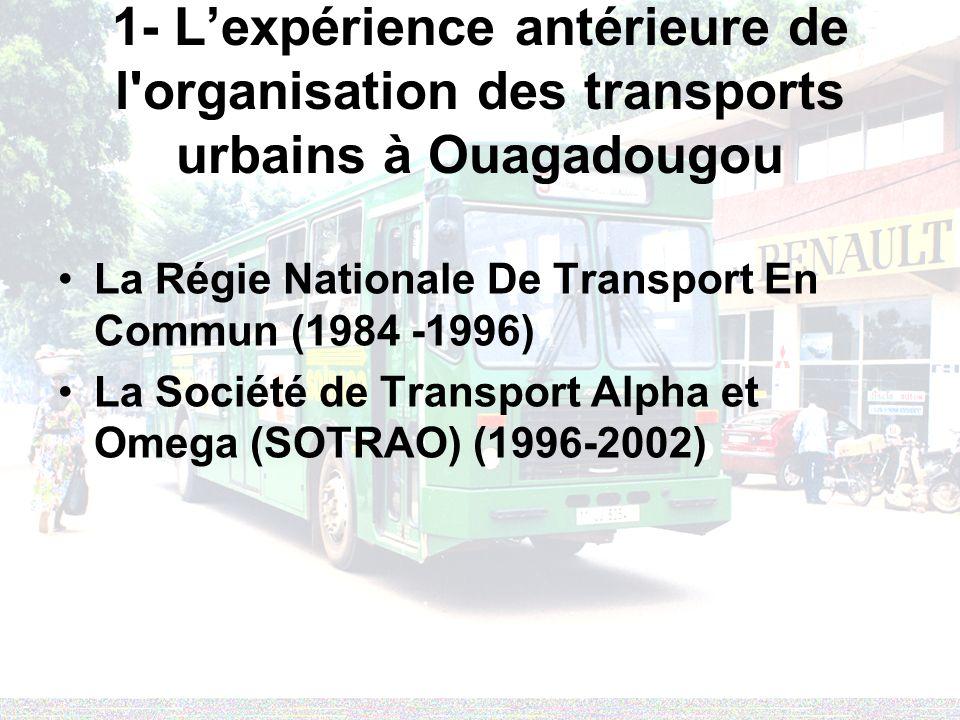 1- L'expérience antérieure de l organisation des transports urbains à Ouagadougou