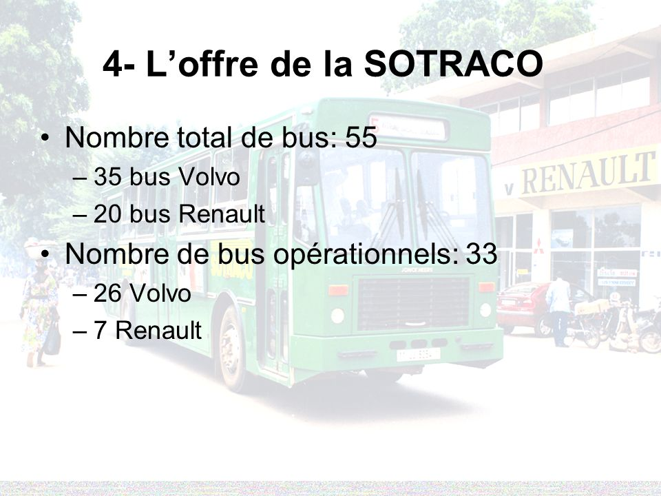 4- L'offre de la SOTRACO Nombre total de bus: 55