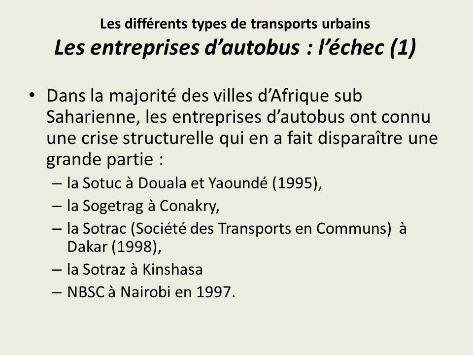 Les différents types de transports urbains Les entreprises d'autobus : l'échec (1)