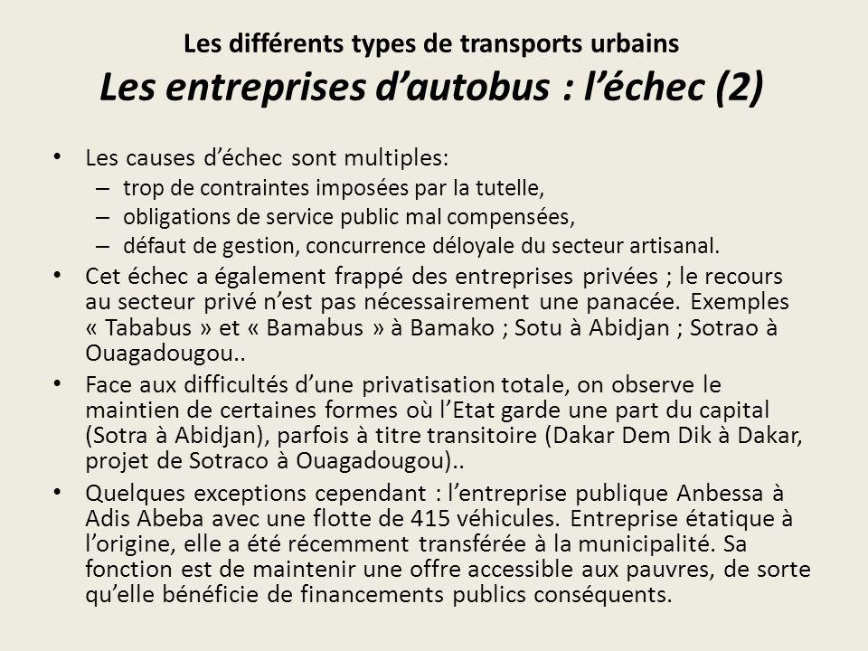 Les différents types de transports urbains Les entreprises d'autobus : l'échec (2)