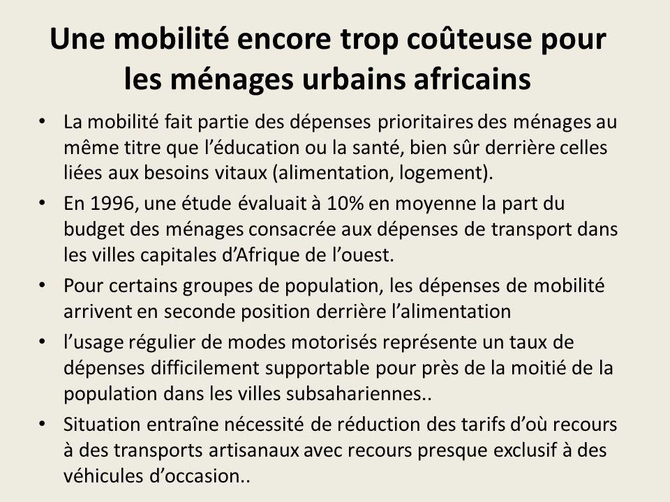 Une mobilité encore trop coûteuse pour les ménages urbains africains