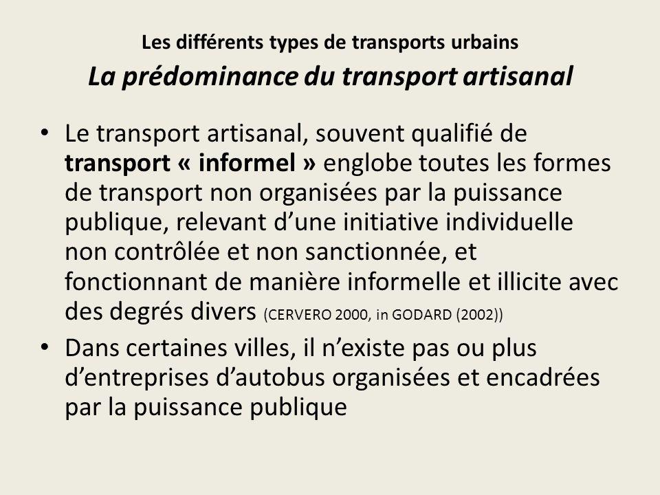 Les différents types de transports urbains La prédominance du transport artisanal