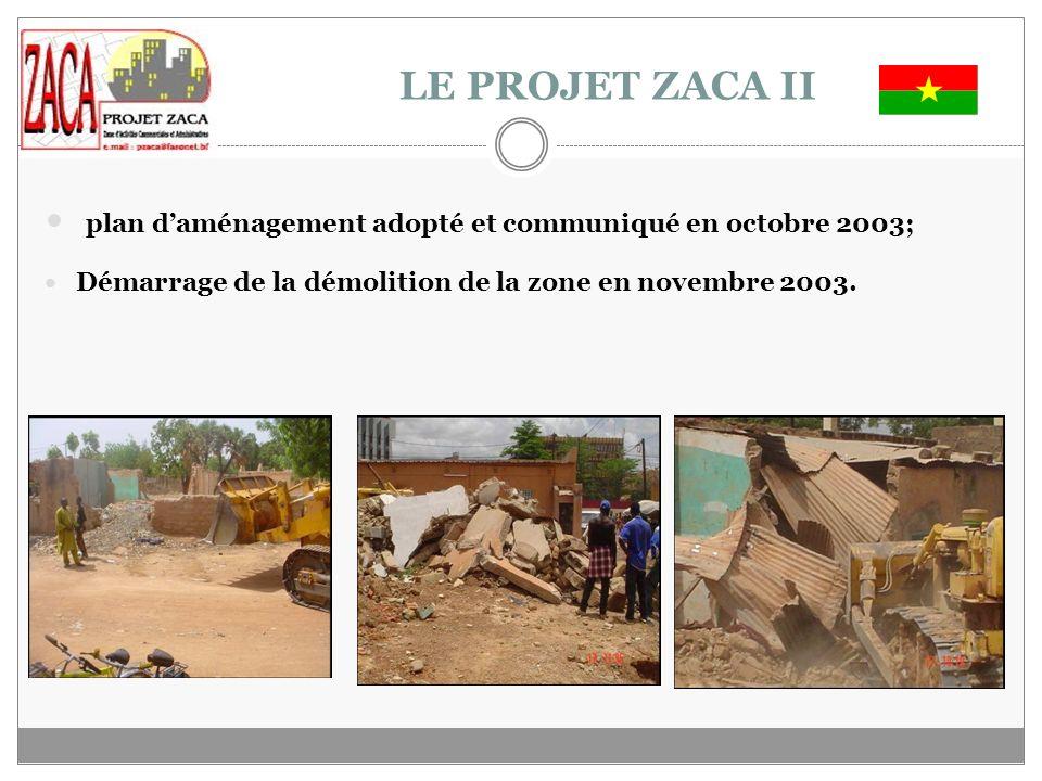 LE PROJET ZACA II plan d'aménagement adopté et communiqué en octobre 2003; Démarrage de la démolition de la zone en novembre 2003.