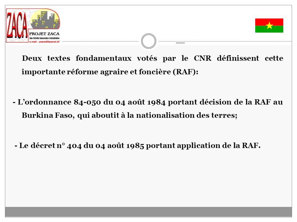 _ Deux textes fondamentaux votés par le CNR définissent cette importante réforme agraire et foncière (RAF):