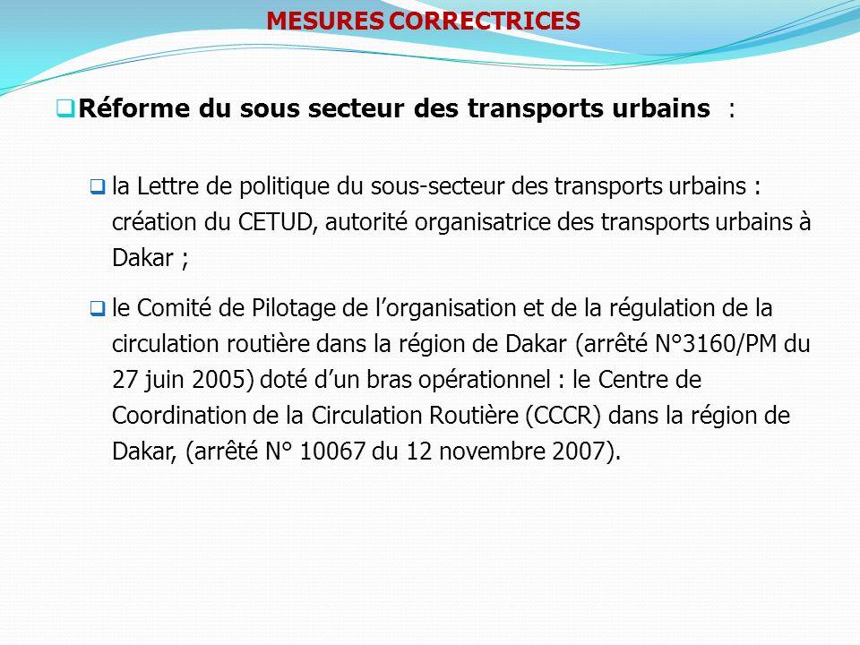 Réforme du sous secteur des transports urbains :