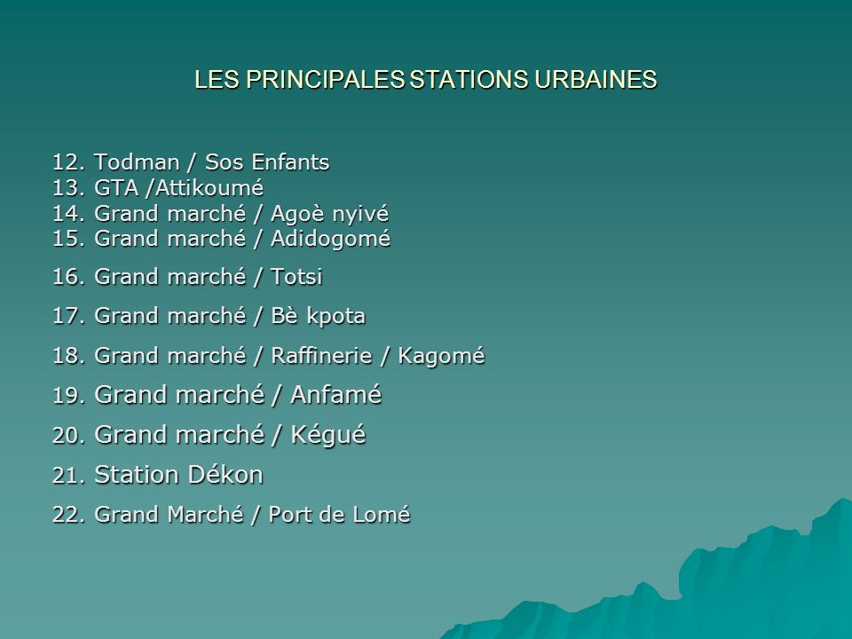 LES PRINCIPALES STATIONS URBAINES