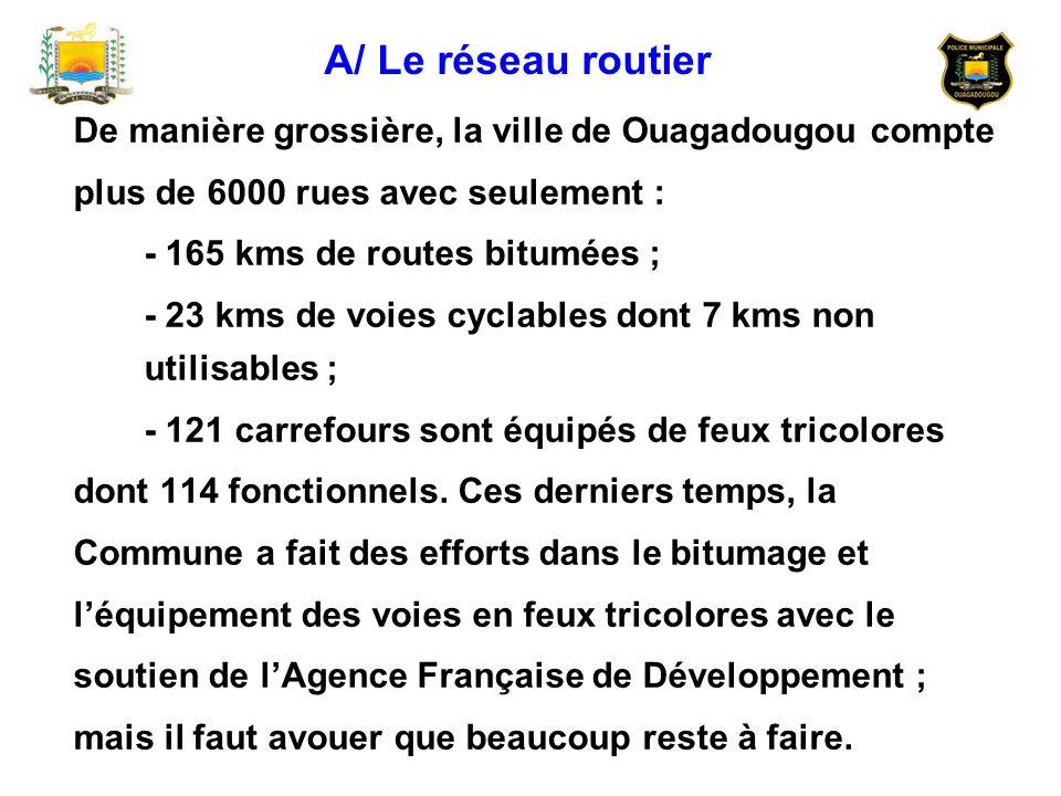 A/ Le réseau routierDe manière grossière, la ville de Ouagadougou compte. plus de 6000 rues avec seulement :