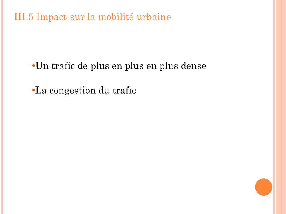 III.5 Impact sur la mobilité urbaine