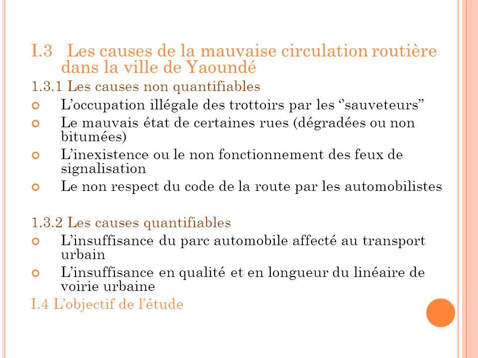 I.3 Les causes de la mauvaise circulation routière dans la ville de Yaoundé