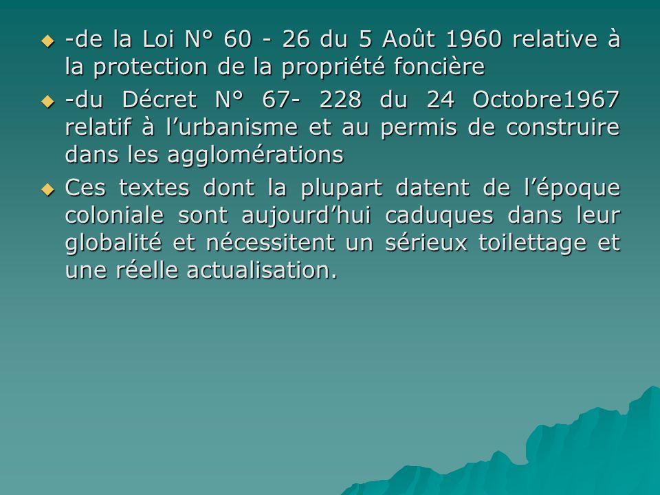 -de la Loi N° 60 - 26 du 5 Août 1960 relative à la protection de la propriété foncière