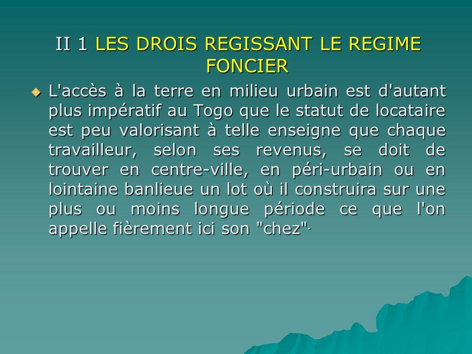 II 1 LES DROIS REGISSANT LE REGIME FONCIER