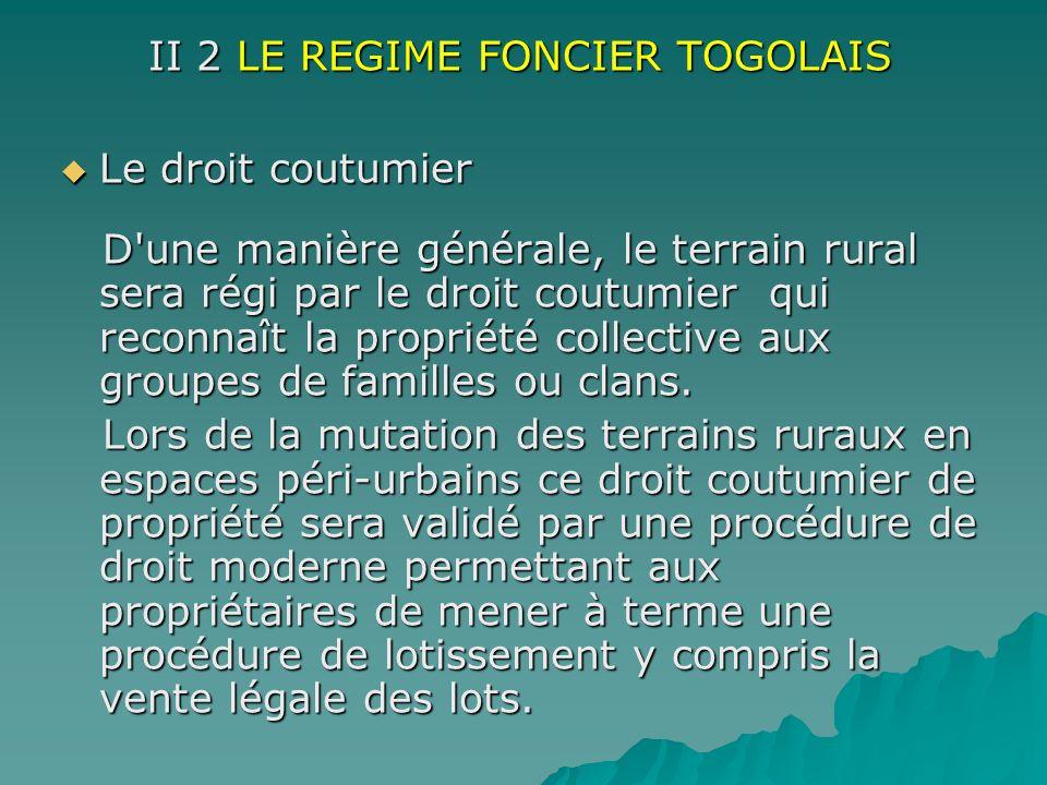 II 2 LE REGIME FONCIER TOGOLAIS