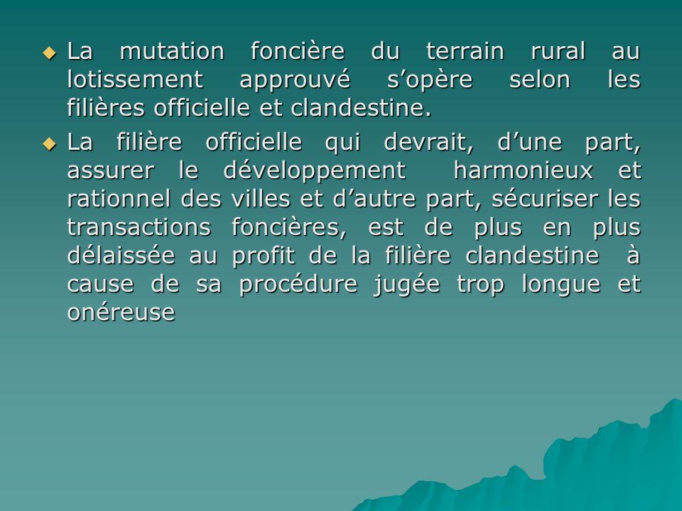 La mutation foncière du terrain rural au lotissement approuvé s'opère selon les filières officielle et clandestine.
