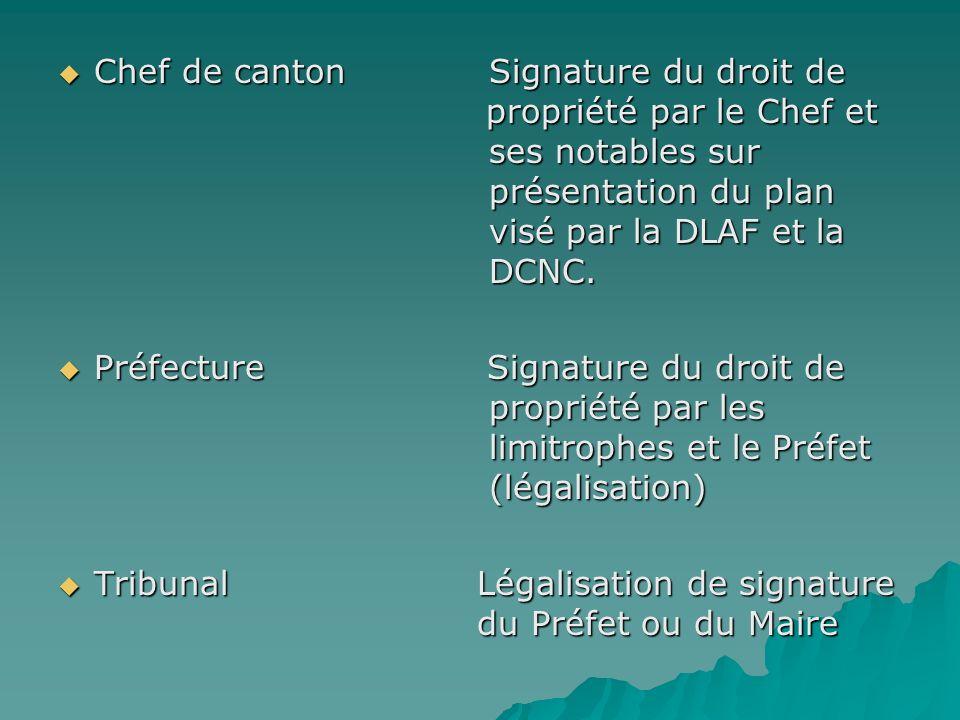 Chef de canton. Signature du droit de. propriété par le Chef et