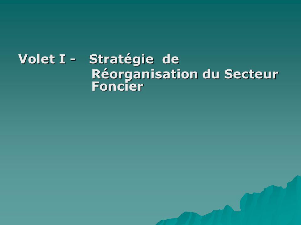 Volet I - Stratégie de Réorganisation du Secteur Foncier