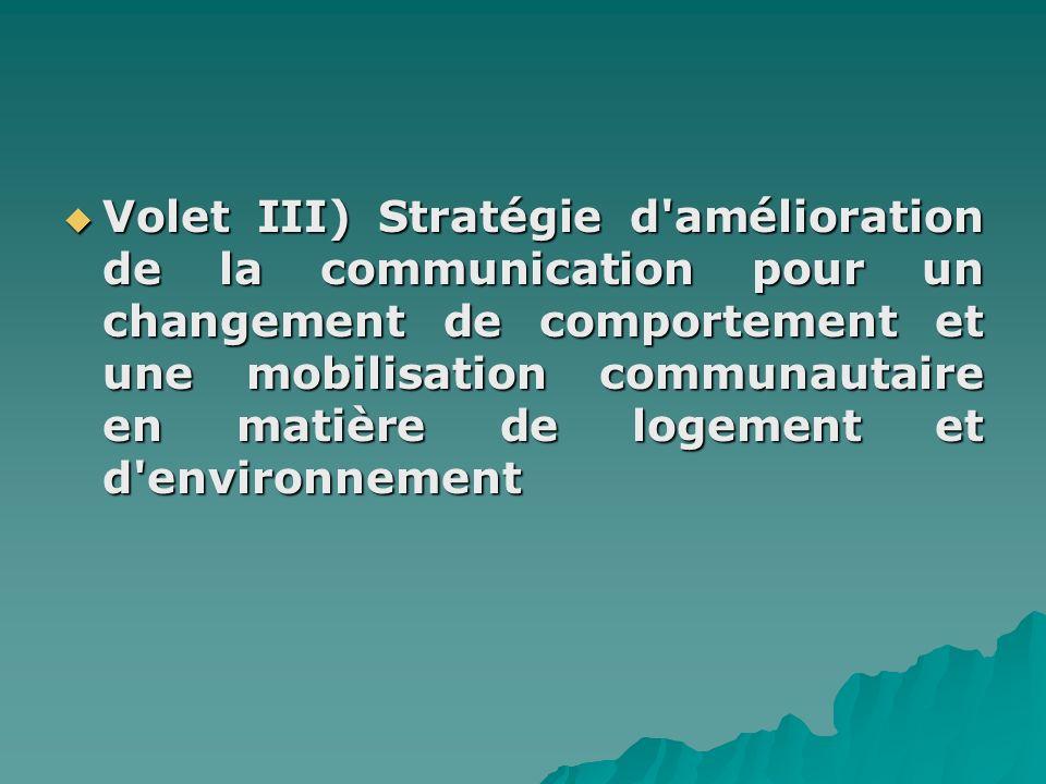 Volet III) Stratégie d amélioration de la communication pour un changement de comportement et une mobilisation communautaire en matière de logement et d environnement