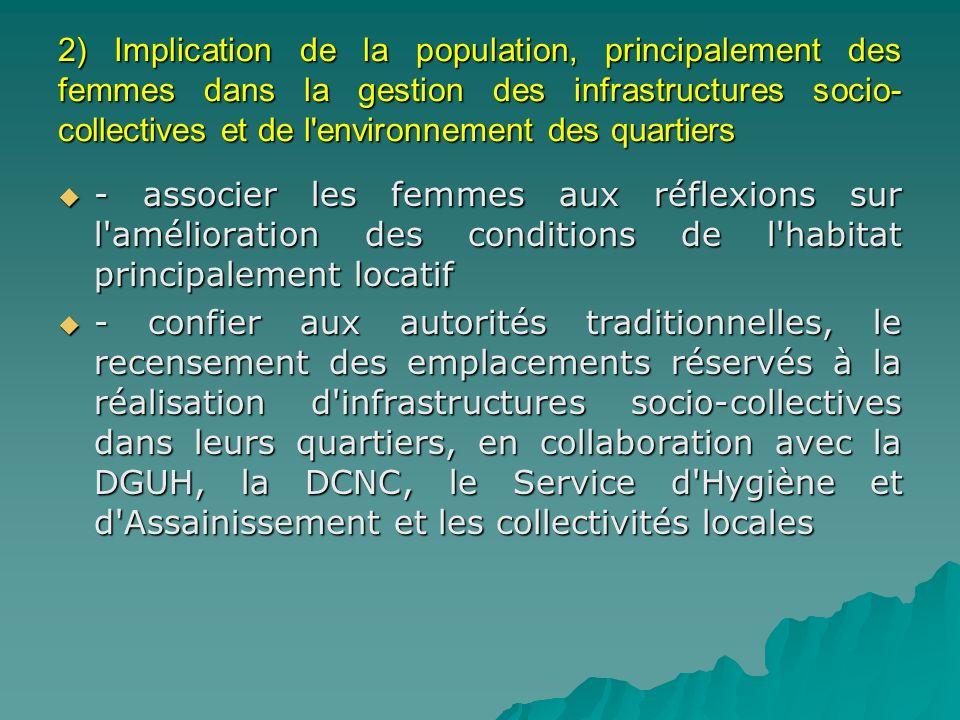 2) Implication de la population, principalement des femmes dans la gestion des infrastructures socio-collectives et de l environnement des quartiers