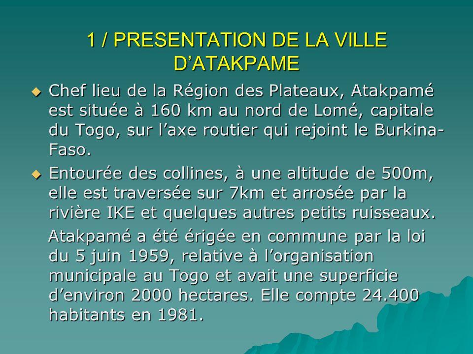 1 / PRESENTATION DE LA VILLE D'ATAKPAME