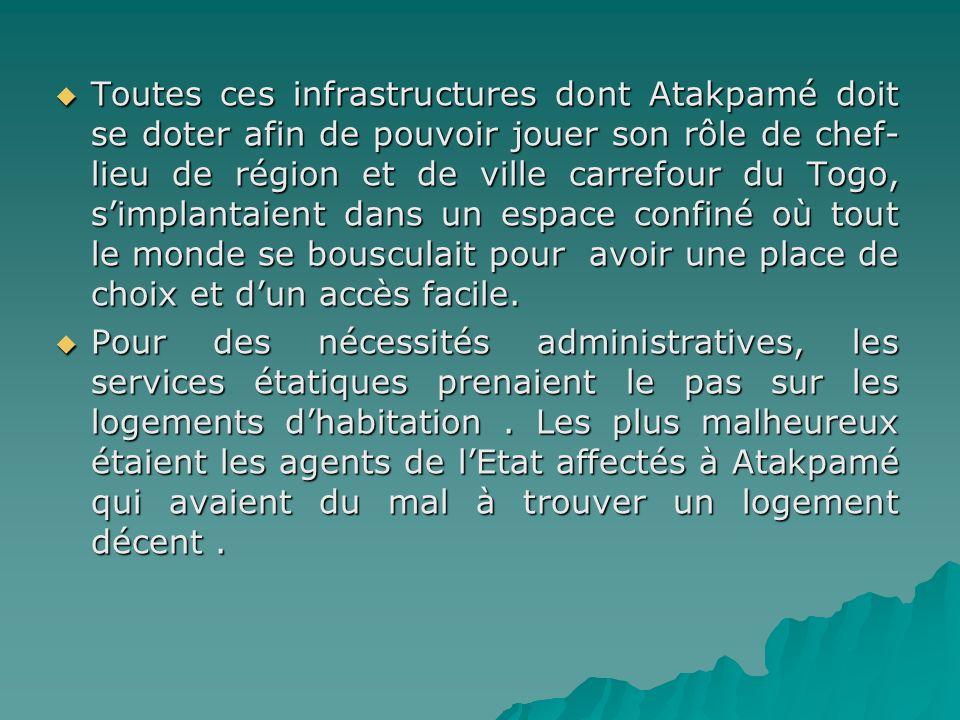 Toutes ces infrastructures dont Atakpamé doit se doter afin de pouvoir jouer son rôle de chef-lieu de région et de ville carrefour du Togo, s'implantaient dans un espace confiné où tout le monde se bousculait pour avoir une place de choix et d'un accès facile.